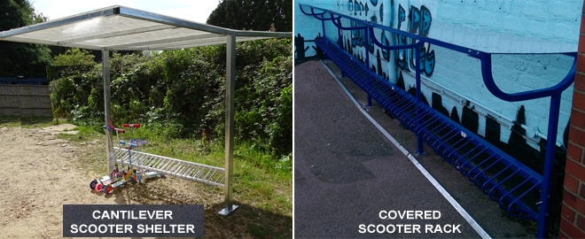 Cantilever and Covered Scooter Racks For Schools