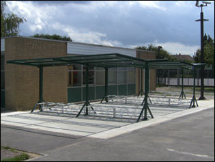gullwing cycle shelter high/low racks